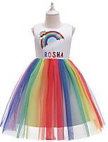 cheap -Kids Little Girls' Dress Rainbow Cartoon Bow White Midi Sleeveless Cute Dresses Regular Fit