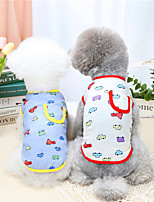 cheap -Dog Cat Shirt / T-Shirt Vest Cartoon Car Basic Adorable Cute Dailywear Casual / Daily Dog Clothes Puppy Clothes Dog Outfits Breathable Yellow Red Costume for Girl and Boy Dog Cotton S M L XL XXL