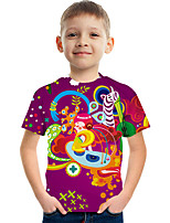 cheap -Kids Boys' Tee Short Sleeve Graphic Children Tops Active Rainbow 3-12 Years