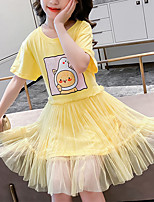 cheap -Kids Little Girls' Dress Cartoon Letter Birthday Party Print Purple Yellow Knee-length Short Sleeve Sweet Dresses Children's Day Summer Regular Fit 3-13 Years