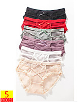 cheap -Women's 5 Pieces Basic Brief - Normal Mid Waist Multi color One-Size