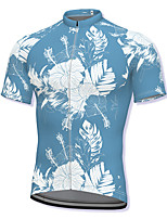 cheap -21Grams Men's Short Sleeve Cycling Jersey Spandex Blue Floral Botanical Bike Top Mountain Bike MTB Road Bike Cycling Breathable Quick Dry Sports Clothing Apparel / Athleisure