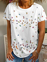 cheap -Women's T shirt Graphic Butterfly Print Round Neck Tops Basic Basic Top White Blue Purple