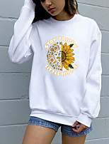 cheap -Women's Sweatshirt Pullover Pure Color Crew Neck Letter Printed Sunflower Sport Athleisure Sweatshirt Top Long Sleeve Breathable Soft Comfortable Everyday Use Street Casual Daily Outdoor