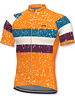 cheap -21Grams Men's Short Sleeve Cycling Jersey Spandex Orange Stripes Bike Top Mountain Bike MTB Road Bike Cycling Breathable Quick Dry Sports Clothing Apparel / Athleisure