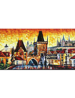 cheap -Oil Painting Hand Painted Horizontal Abstract Landscape Modern Rolled Canvas (No Frame)