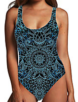 cheap -Women's One Piece Monokini Swimsuit Tummy Control Print Tribal Floral Black Blue Swimwear Bodysuit Strap Bathing Suits New Ethnic Fashion