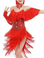 cheap -Latin Dance Dress Tassel Crystals / Rhinestones Girls' Training Performance Elastane