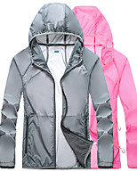 cheap -Women's Hiking Jacket Hiking Skin Jacket Hiking Windbreaker Summer Outdoor Solid Color UV Sun Protection UPF50+ Ultra Light (UL) Quick Dry Outerwear Jacket Top Spandex Full Length Visible Zipper