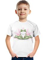 cheap -Kids Boys' Tee Short Sleeve Graphic Children Tops Active White 3-12 Years