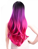 cheap -Synthetic Wig Deep Wave Middle Part Side Part Wig Medium Length Violet Pink Synthetic Hair Women's Cosplay Party Fashion Pink Purple