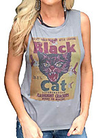 cheap -women black cat firework shirt funny sleeveless cat graphic tee letters print shirt blouse (xl, gray) (m, gray)