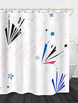 cheap -Beautiful Five-pointed Star Print Waterproof Fabric Shower Curtain for Bathroom Home Decor Covered Bathtub Curtains Liner Includes with Hooks
