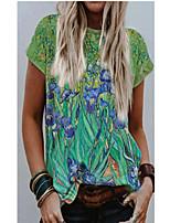 cheap -Women's T shirt Floral Print Round Neck Tops Basic Basic Top Green