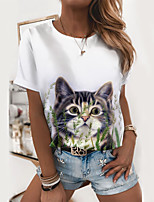 cheap -Women's T shirt Cat Graphic 3D Print Round Neck Tops Basic Basic Top White