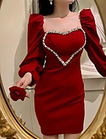 cheap -Sheath / Column Elegant Vintage Homecoming Cocktail Party Dress Scoop Neck Long Sleeve Short / Mini Stretch Fabric with Crystals 2021