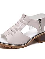 cheap -Women's Sandals Chunky Heel Peep Toe Block Heel Sandals British Daily PU Solid Colored White Black Beige