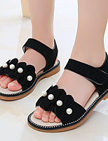 cheap -Girls' Sandals Flower Girl Shoes Princess Shoes School Shoes Rubber Satin Little Kids(4-7ys) Big Kids(7years +) Daily Party & Evening Walking Shoes Pearl Sparkling Glitter Ruffles Black Pink Khaki