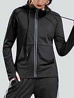 cheap -Women's Solid Colored Drawstring Sporty Fall & Winter Jacket Regular Daily Long Sleeve Polyster Coat Tops Black