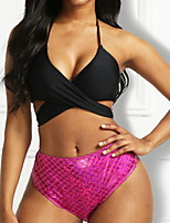 cheap -Women's Bikini 2 Piece Swimsuit Wrap Cross Solid Color 3D Blue Red Swimwear Padded Crop Top Bathing Suits New Casual Sexy