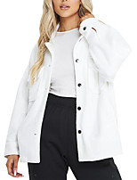 cheap -Women's Solid Colored Patchwork Streetwear Fall & Winter Jacket Regular Daily Long Sleeve Polyster Coat Tops White
