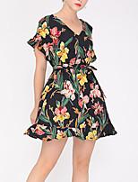 cheap -Women's A Line Dress Short Mini Dress Black Short Sleeve Floral Print Solid Color Summer V Neck Casual 2021 S M L XL