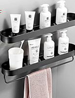 cheap -30cm Bathroom Black Shelf with Towel Bar Space Aluminum Corner Shelves Towel Rack with Hook Shampoo Holder Kitchen Storage Rack