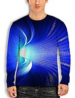 cheap -Men's Tunic 3D Print Graphic 3D Print Long Sleeve Daily Tops Basic Casual Blue