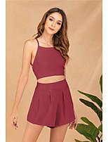 cheap -Women's Basic Streetwear Plain Daily Two Piece Set Tank Top Shirred Cami Top Loungewear Shorts Ruched Tops