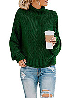 cheap -womens turtleneck knit sweaters casual chunky pullover long sleeve loose jumper tops (p-green, small)