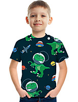 cheap -Kids Boys' Tee Short Sleeve Graphic Children Tops Active Black 3-12 Years