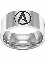 cheap -jajafook 8mm stainless steel sculpture atheist sign engagement couple rings