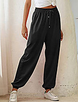 cheap -Women's Basic Casual Sports Pants Pants Solid Color Full Length Black Army Green
