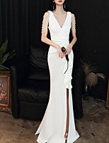 cheap -Mermaid / Trumpet Beautiful Back Sexy Engagement Formal Evening Dress V Neck Sleeveless Floor Length Italy Satin with Ruffles Split 2021