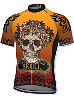 cheap -21Grams Men's Short Sleeve Cycling Jersey Spandex Yellow Skull Bike Top Mountain Bike MTB Road Bike Cycling Breathable Quick Dry Sports Clothing Apparel / Athleisure