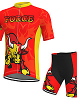 cheap -Men's Short Sleeve Cycling Jersey with Shorts Spandex Red Cow Bike Breathable Quick Dry Sports Graphic Mountain Bike MTB Road Bike Cycling Clothing Apparel / Stretchy / Athletic / Athleisure