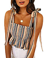 cheap -canikat women's sexy frill smocked crop striped tank top adjustable tie shoulder strap vest sleeveless tops yellow 2xl