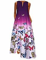 cheap -hotkey women plus size dress butterfly printed vintage daily casual sleeveless bohemian autumn long maxi dress s-5xl purple