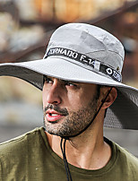 cheap -Men's Fisherman Hat 1 PCS Outdoor Portable Sunscreen Breathable Soft Hat Solid Color Polyester / Cotton Blend Black Army Green Grey for Fishing Climbing Beach
