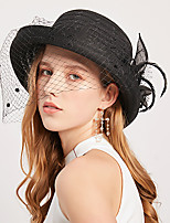 cheap -Vintage Style Elegant Tulle / Straw Hats / Headwear / Straw Hats with Feather / Appliques / Polka Dot 1 Piece Casual / Holiday Headpiece