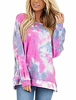 cheap -meikosks ladies tie dye sweatshirts round neck long sleeve tops fashion printing pullover red