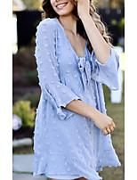 cheap -Women's Chiffon Dress Knee Length Dress Light Blue 3/4 Length Sleeve Solid Color Bow Summer V Neck Casual 2021 S M L XL