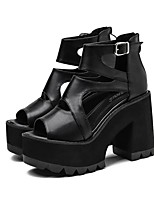 cheap -Women's Sandals Platform Round Toe Booties Ankle Boots Rubber Solid Colored Black / Over The Knee Boots