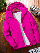 cheap -Women's Hoodie Jacket Waterproof Hiking Jacket Hiking Windbreaker Autumn / Fall Spring Summer Outdoor Solid Color Waterproof Windproof Quick Dry Lightweight Jacket Hoodie Top Elastane Full Zip