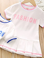 cheap -Kids Little Girls' Dress Letter Print Blue Blushing Pink Knee-length Short Sleeve Basic Dresses Summer Regular Fit 2-9 Years