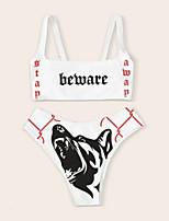 cheap -Women's Bikini 2 Piece Swimsuit Open Back Slim Color Block Geometric White Swimwear Padded Crop Top Strap Bathing Suits New Fashion Sexy