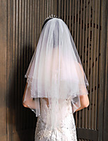 cheap -Two-tier Pearl / Cute Wedding Veil Elbow Veils with Solid / Trim 23.62 in (60cm) Lace / Tulle