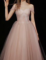 cheap -A-Line Glittering Elegant Engagement Formal Evening Dress Strapless Short Sleeve Floor Length Tulle with Pleats Beading 2021