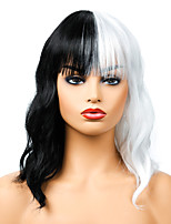 cheap -Synthetic Wig Curly Neat Bang Wig Medium Length Black / White Synthetic Hair Women's Cosplay Party Fashion Black White