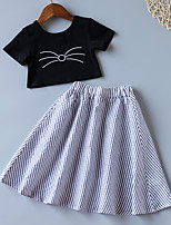 cheap -Kids Toddler Little Girls' Dress Blue & White Cat Striped Solid Colored Causal Ruffle Bow White Black Above Knee Short Sleeve Basic Cute Dresses Children's Day Regular Fit 3-8 Years